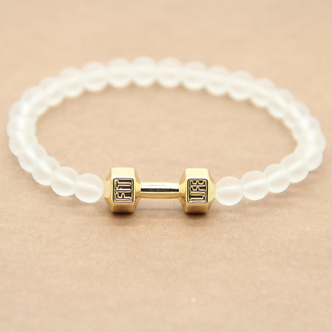 "Frosted Glass Mala Bracelet w/""Fit Life"" Dumbbell Charm - The Spiritual Panda"