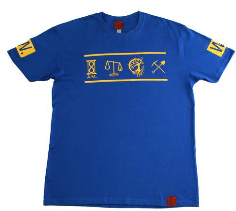 8 AM | ELEMENTS TEE - ROYAL BLUE/GLD INK