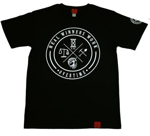 8 AM | REAL WINNERS WORK OVERTIME OG TEE IN BLK/WHTE INK