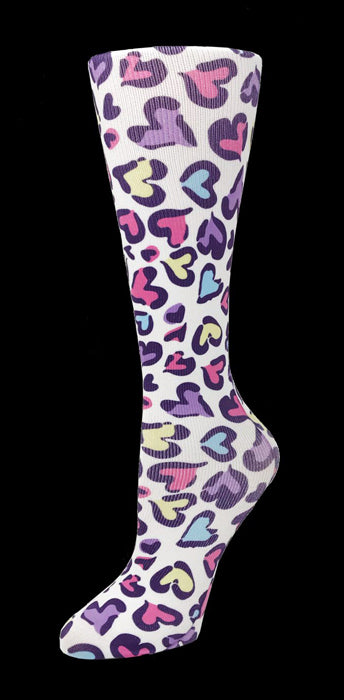 Leopard Hearts Knee High Compression Socks - 10-18mmHg Knit
