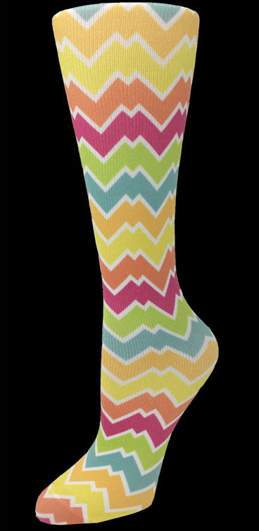 Bright Chevron Knee High Compression Socks - 10-18mmHg Knit