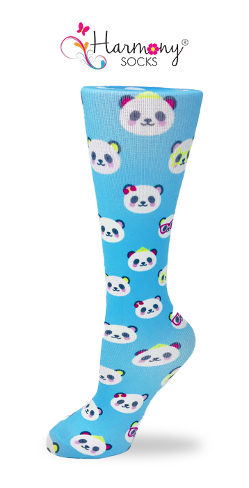 Panda Sparkle Knee High Compression Socks By Harmony - Harmony Surgical Designs