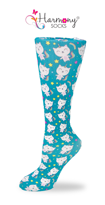 Unicorn Gatos Knee High Compression Socks By Harmony - Harmony Surgical Designs