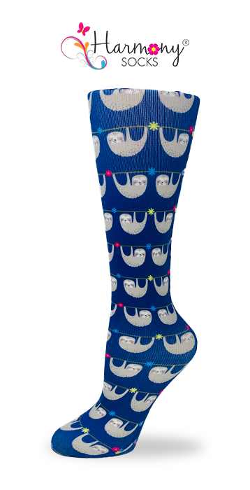 Cute Sloths Knee High Compression Socks By Harmony - Harmony Surgical Designs