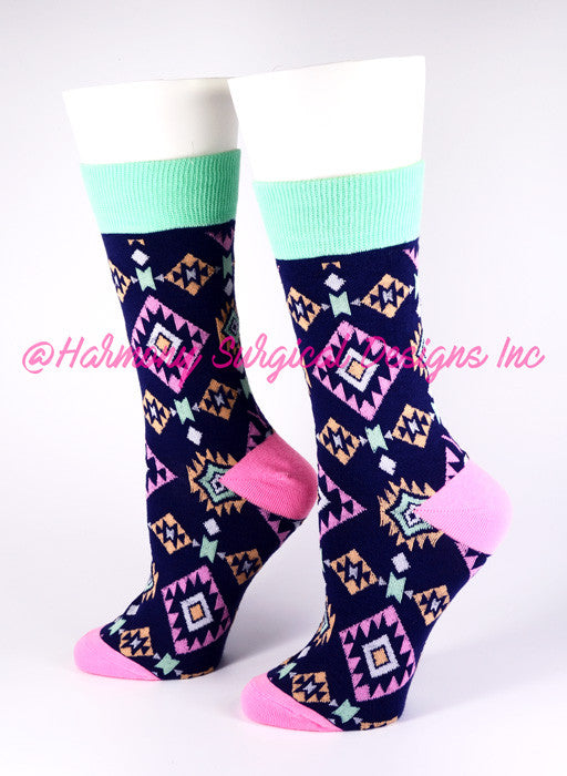 Aztec Crew Socks - Harmony Surgical Designs