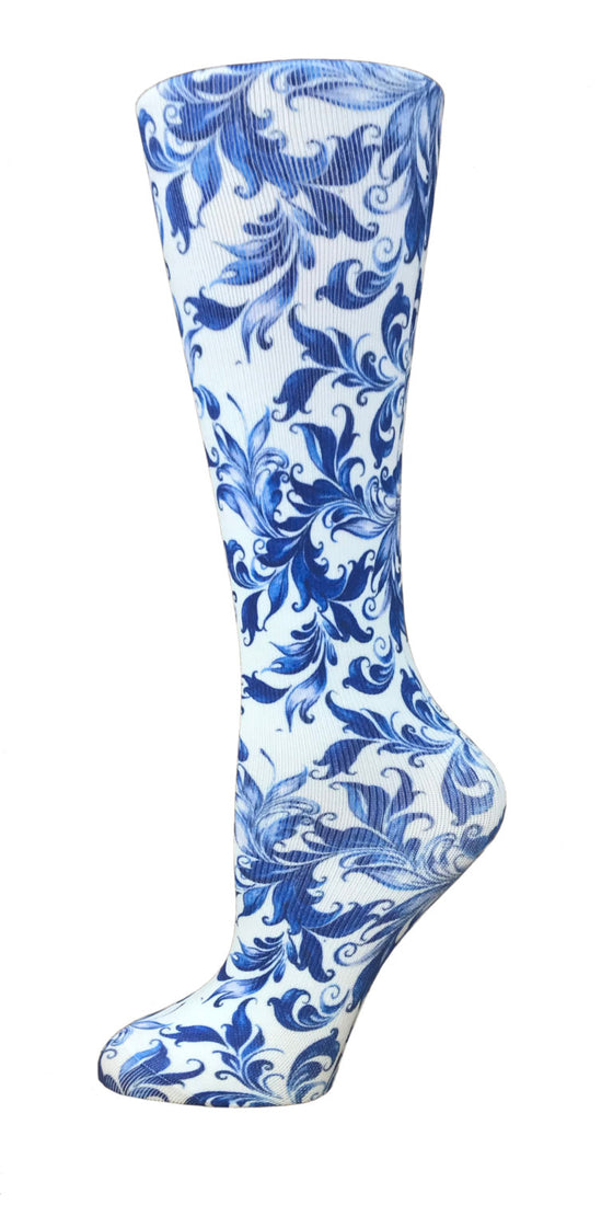 Victorian Blue Knee High Compression Socks - 10-18mmHg Knit