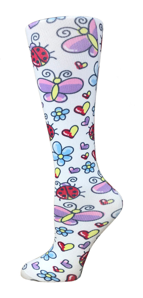 Cute Bugs Knee High Compression Socks - 10-18mmHg Knit - Harmony Surgical Designs