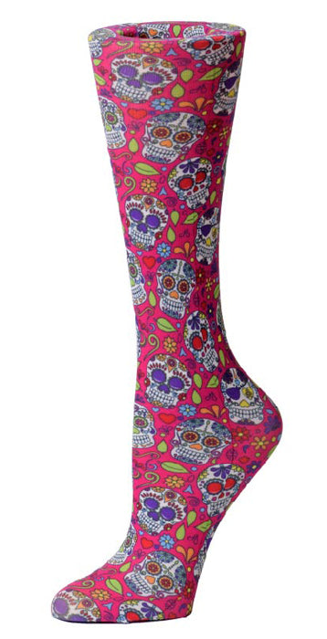 Pink Sugar Skulls Knee High Compression Socks - 10-18mmHg Knit