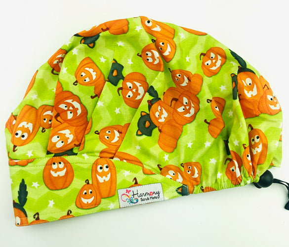 Halloween Glow In The Dark Pumpkins Modern Bouffant™ Scrub Hat