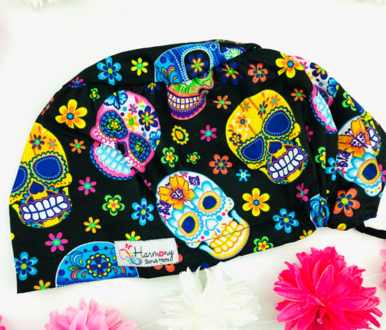 Bright Sugar Skulls EURO® Scrub Hat