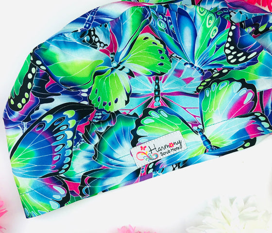 Neon Butterfly EURO® Scrub Hat - Harmony Surgical Designs