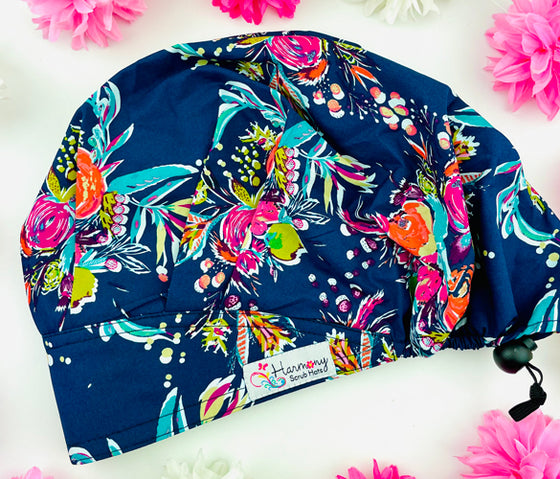 Blooms At Night Modern Bouffant™ Scrub Hat