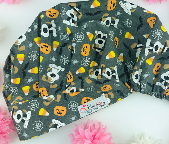 Halloween Mutts Modern Bouffant™ Scrub Hat - Harmony Surgical Designs