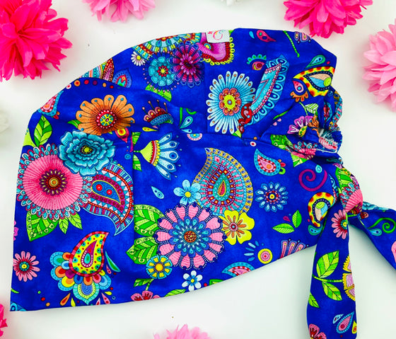 Bright Blue Floral Florence™ Scrub Hat
