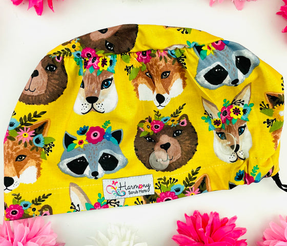 Animal Princess Button Scrub Hat