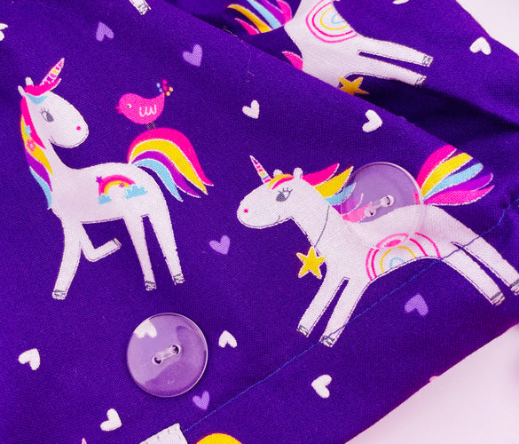 Unicorn Dreams Button Scrub Hat