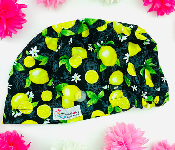 Lemon Tree Button Scrub Hat