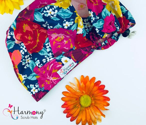 Big Floral Modern Bouffant™ Scrub Hat MB49 - Harmony Surgical Designs