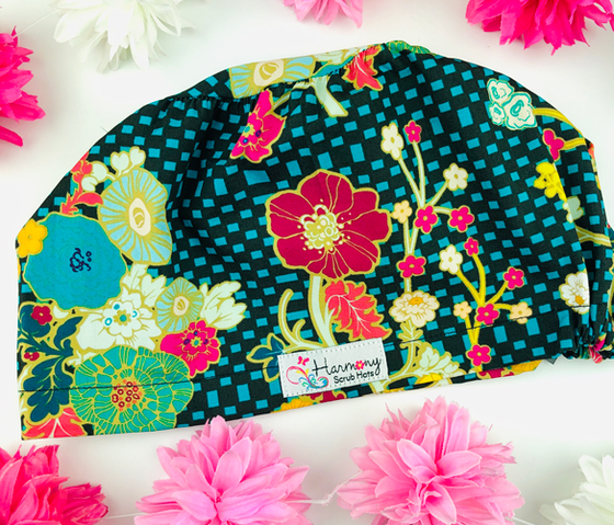 Checkered Floral EURO® Scrub Hat