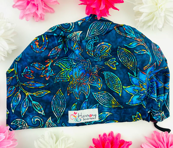 Stained Glass Flowers EURO® Scrub Hat
