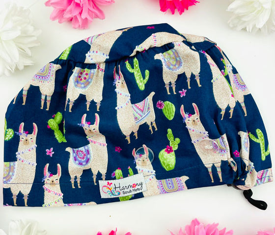 Girly Llama Button Scrub Hat