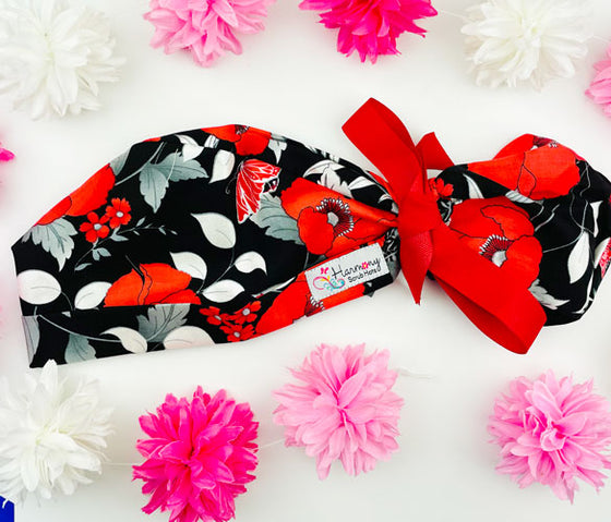 Big Red Blooms Modern Pony™ Scrub Hat