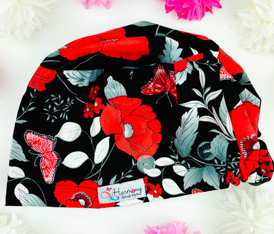 Dash Of Red Button Scrub Hat
