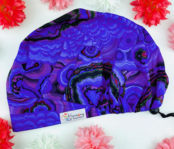 Purple Geo Modern Bouffant™ Scrub Hat