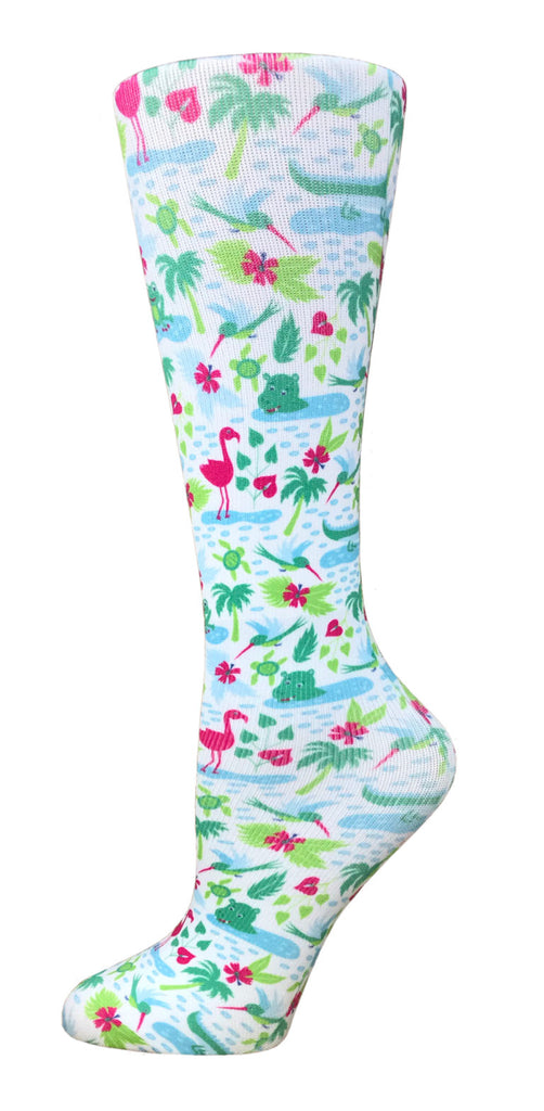 Flamingo Summer Knee High Compression Socks - 10-18mmHg Knit - Harmony Surgical Designs