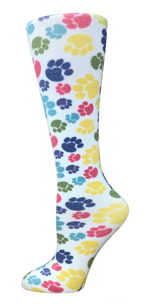 Paw Prints Knee High Compression Socks - 10-18mmHg Knit - Harmony Surgical Designs