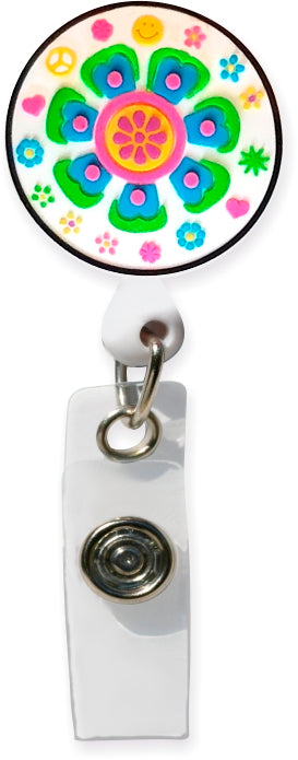 Retro Flower White Badge Pull