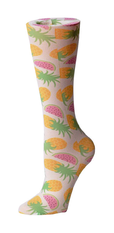 Summer Fruits Sheer Knee High Compression Socks 8-15mmHg
