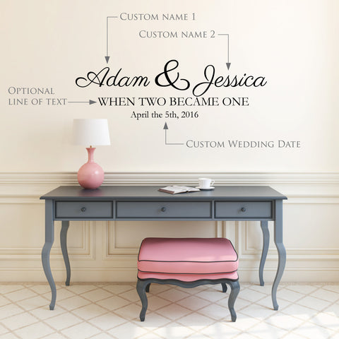 Custom Wedding Wall Decal Names and Dates