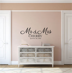 Custom Wedding Mr Mrs Vinyl Wall Decal Australia