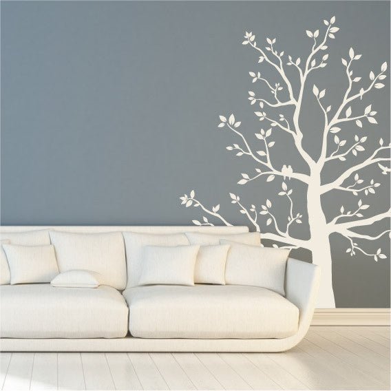 Large White Tree Wall Sticker Design With Perched Birds In Branches And  Leaves ... Part 85