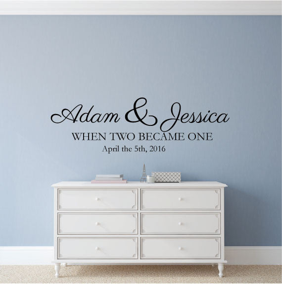 custom wedding wall sticker quote - names and dates - fixate
