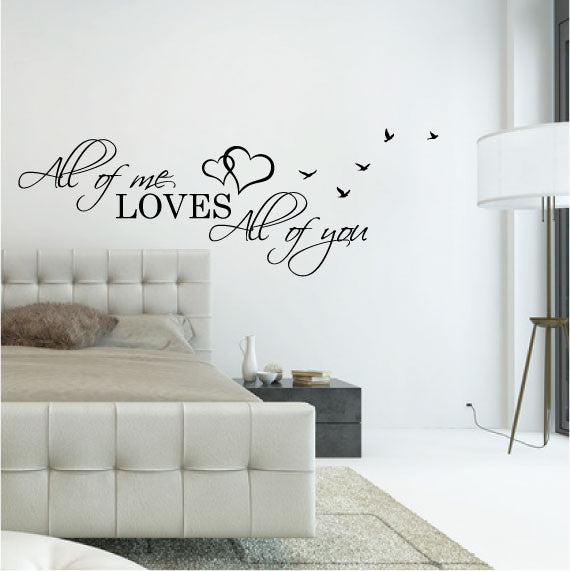 wall sticker bedroom love quote - all of me loves all of you - fixate