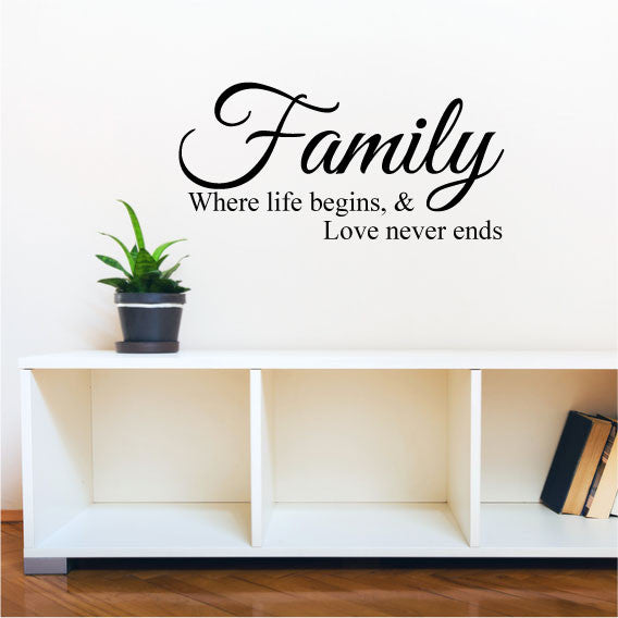 family where love never ends - wall sticker quote - fixate