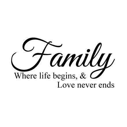 Family Where Love Never Ends Wall Sticker Quote Fixate Classy Quotes About Family Love