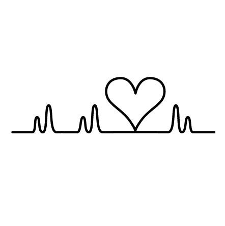 Wall sticker design heart beat love