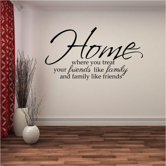 Family Wall Sticker Quote   Home Where You Treat Your Friends Like Family  And Family Like ... Part 42