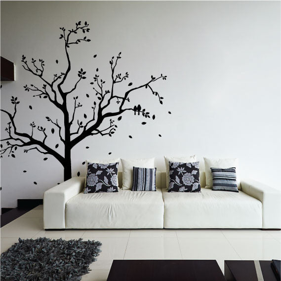 Large Tree Wall Sticker Design With Falling Leaves And Flying Birds ...
