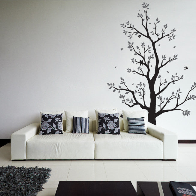 ... Large Tree Wall Sticker With Leaves, Branches U0026 Flying Birds ...