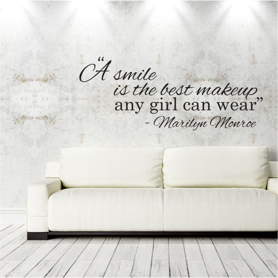 Wall Sticker Quote U2013 A Smile Is The Best Makeup Any Girl Can Wear U2013 Marilyn  Monroe Part 66