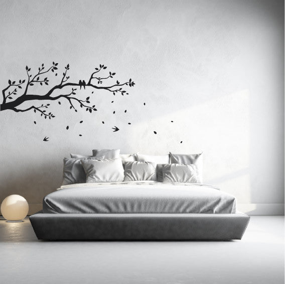 tree branch wall sticker design with birds and falling leaves - fixate