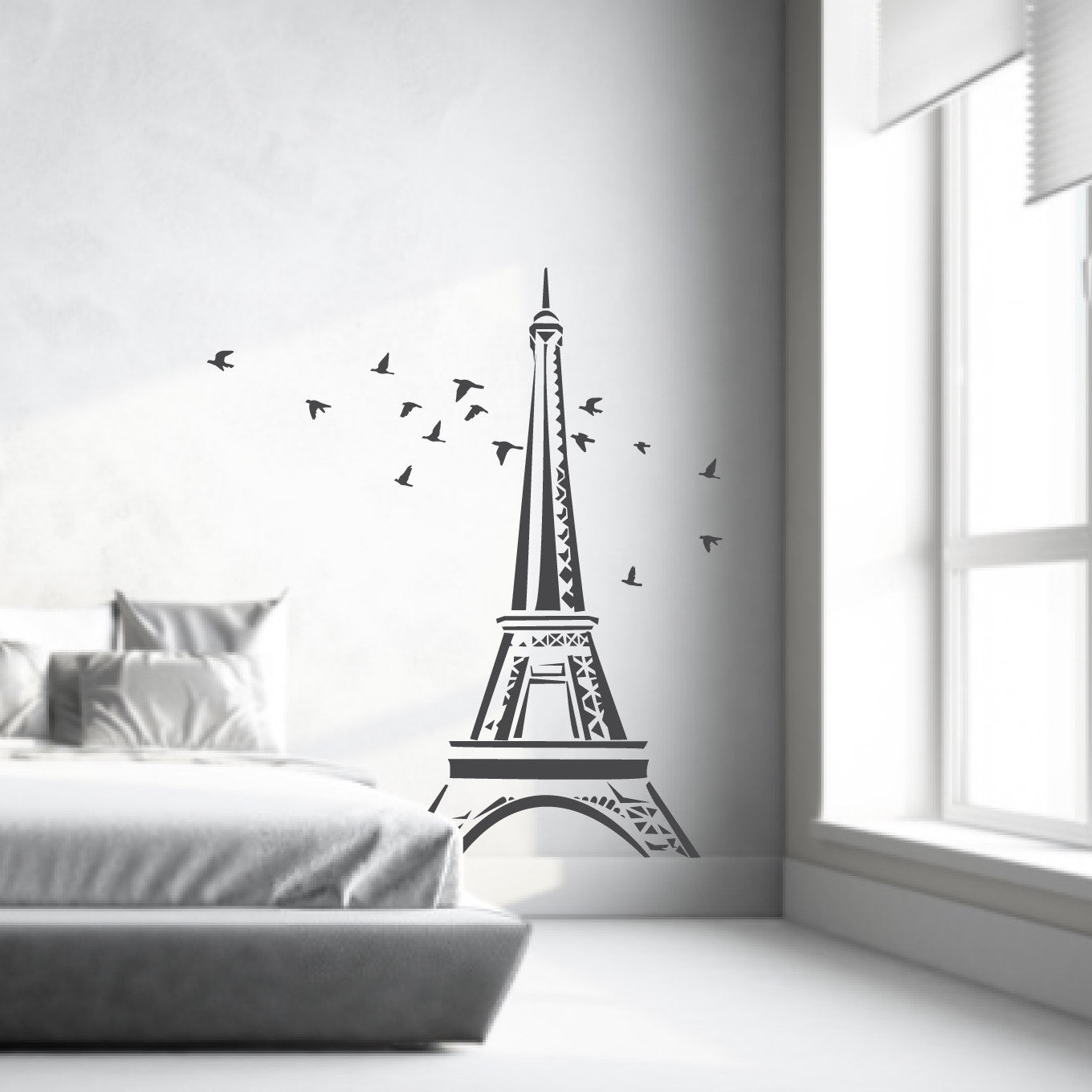 Wall decal eiffel tower with flying birds decals australia fixate wall decal paris dcor eiffel tower with flock of flying birds amipublicfo Image collections