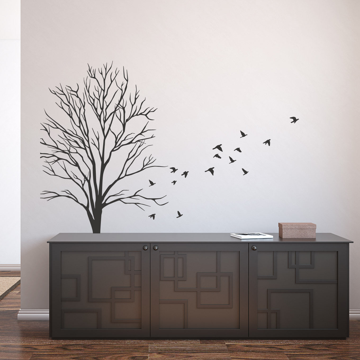 Small wall decal tree design birds wall decals australia fixate wall decal small tree design with flock of flying birds amipublicfo Image collections