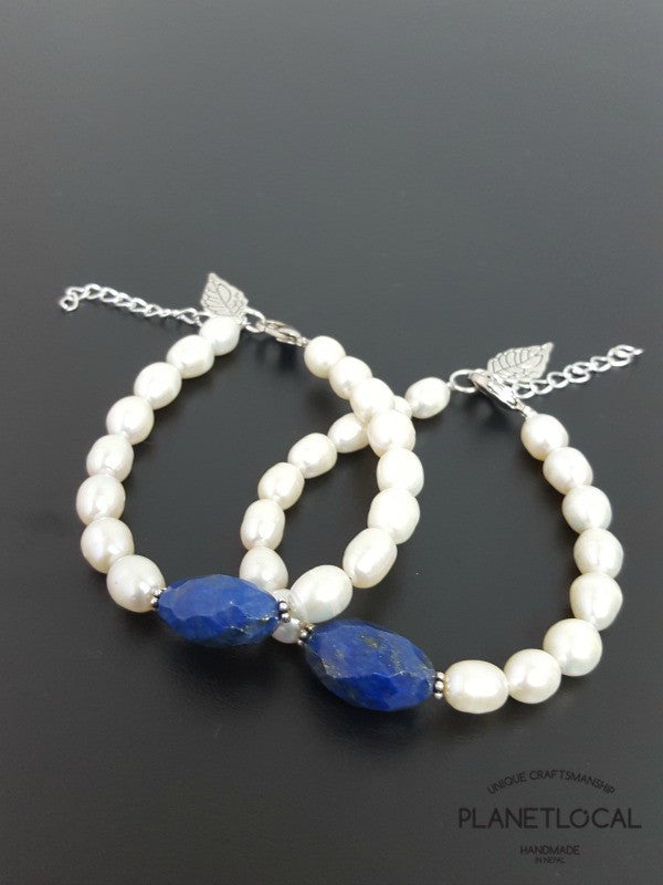 Special Edition Lapis Lazuli with Shell/Luster Natural Pearl Bracelet (1)