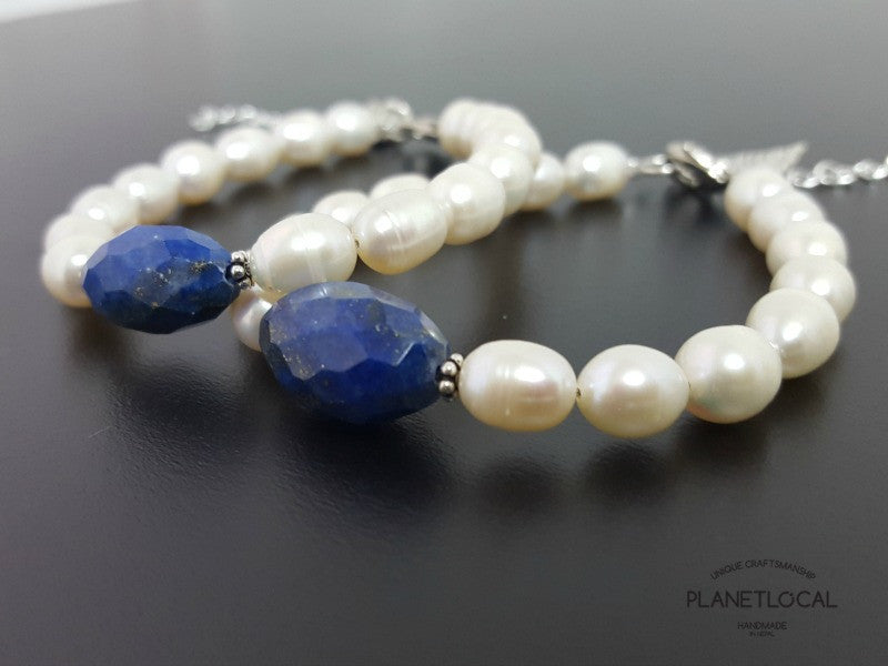 Special Edition Lapis Lazuli with Shell/Luster Natural Pearl Bracelet (2)