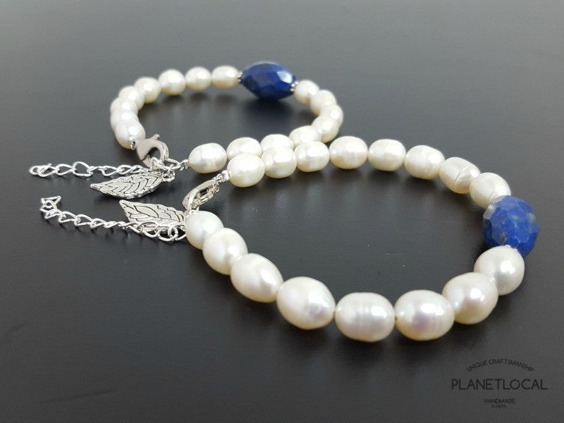 Special Edition Lapis Lazuli with Shell/Luster Natural Pearl Bracelet (3)
